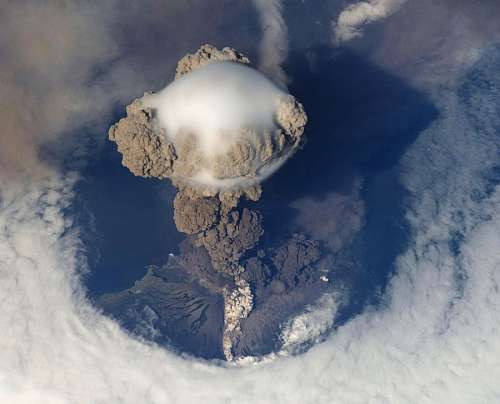 Volcanic eruption top view