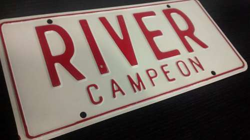 Poster, river, football, sheet metal