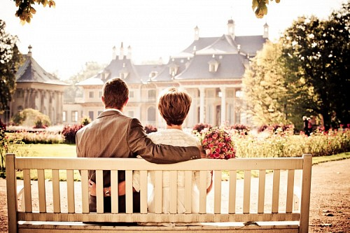 Romantic couple contemplating landscape