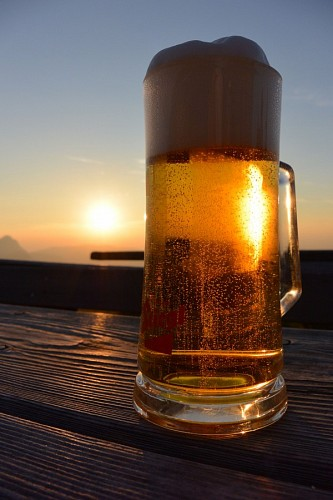 Golden Beer at sunset