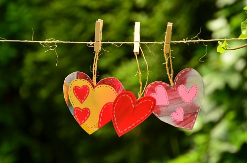 Decoration of hearts on the rope