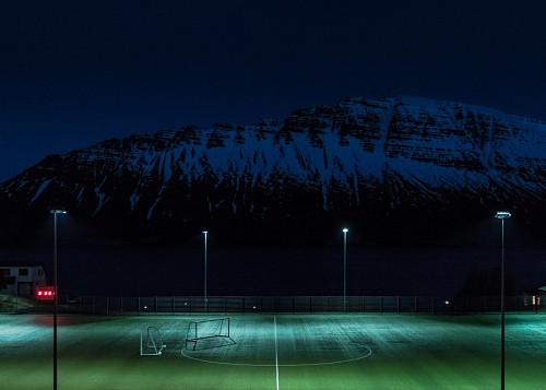 Soccer stadium with mountains background