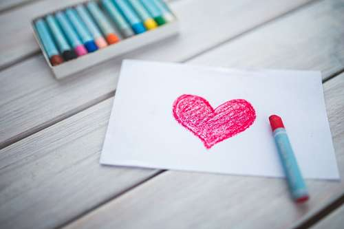 Heart drawn with crayons