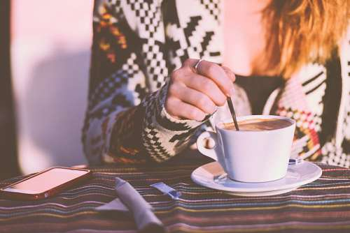 free images  Woman drinking coffee