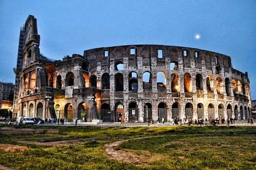 Night Colosseum in Rome, Italy, Europe.