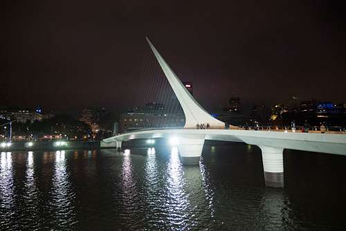 Bridge of the Woman (Puente De La Mujer) by night, Buenos Aires, Argentina