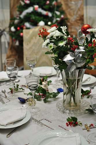table, christmas, served, served, interior, meal,