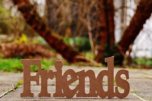 Wooden ornament with the word Friends