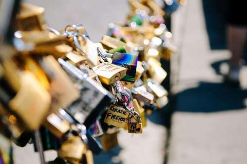 Bridge of lovers' padlocks