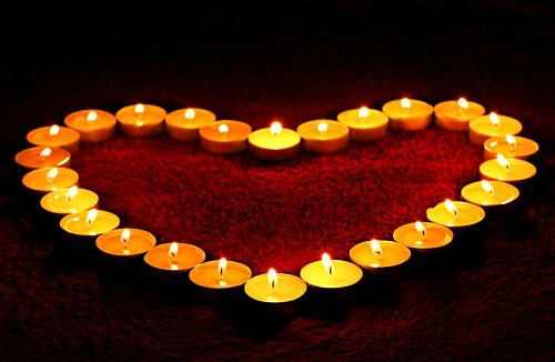 Love wallpaper photo Candles forming heart