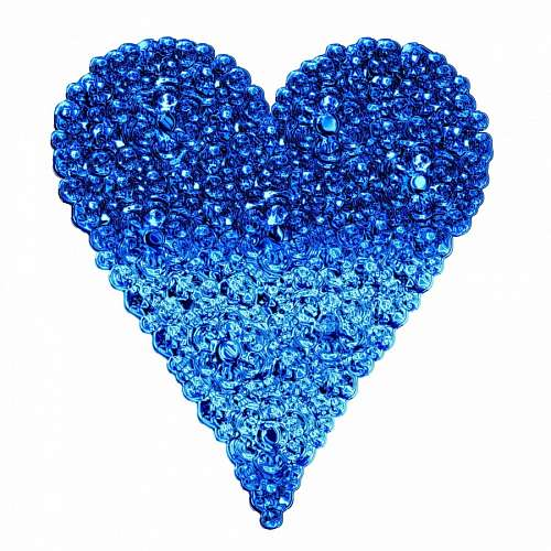 Heart blue made up of bubbles