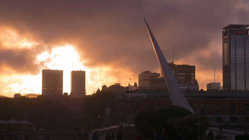 Bridge of the Woman (Puente De La Mujer) at sunset, Buenos Aires, Argentina