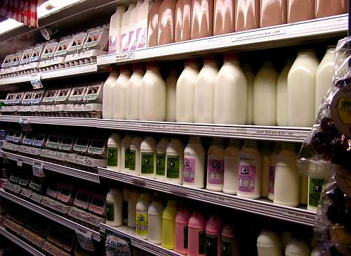 Milk at supermarket