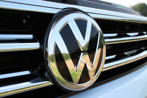 Close-up of Volkswagen auto logo for wallpaper