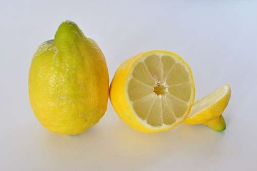lemon, fruit, cut, half yellow, two fruits, white