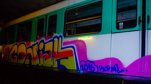Graffiti on train made by Coñak