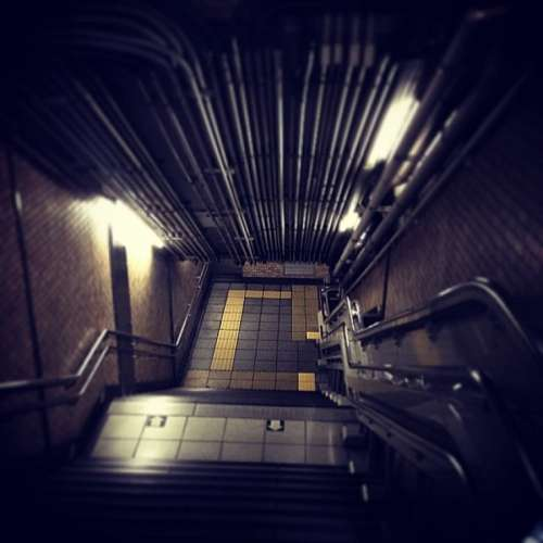 stairs, steps, subway, metro, down, night, light,