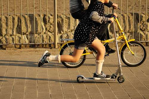 child, children, two, children, bicycle, skate, sk