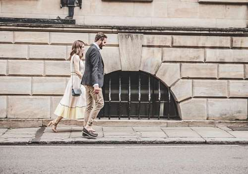 Couple walking at the city