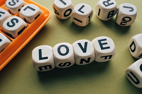 Love word formed by dice
