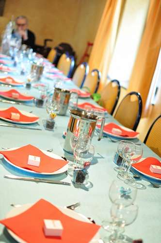 table, interior, served covered cutlery, lunch, di