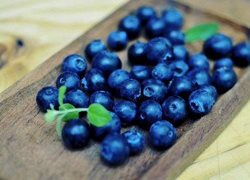 Blueberries with mint leaves