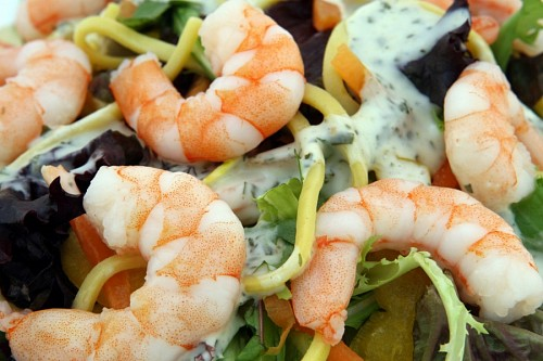 Protein salad of shrimp