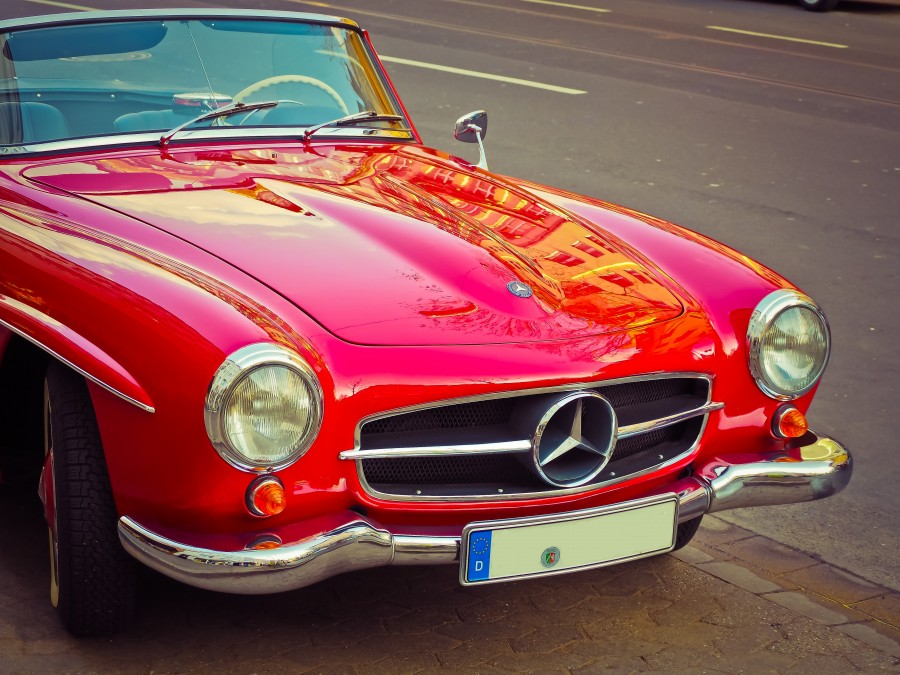Mercedes Benz, auto, car, truck, convertible, sports, logo, symbol, red, old, retro, collection, luxury,