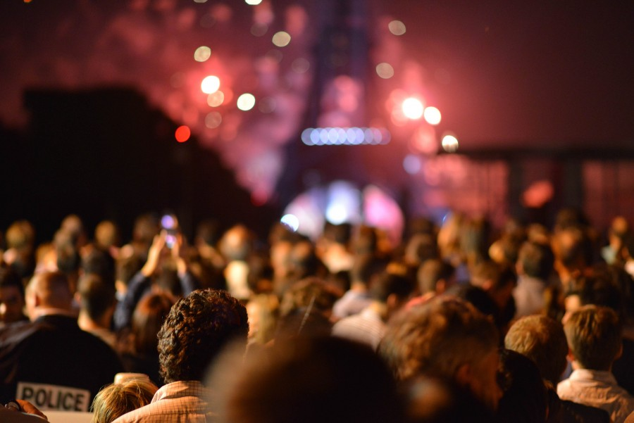 Celebration, Eiffel Tower, Event, Fireworks, France, Night, Paris, background, crowd, group, nightlife, party, people, police, rod,