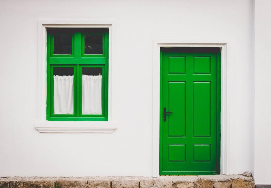 facade, door, window, green, home, front view,