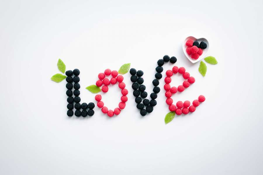 love, fruit, fruit, concept, letters, raspberry, blackberry, berry, food, concept, diet, healthy, habit, lose weight, healt,