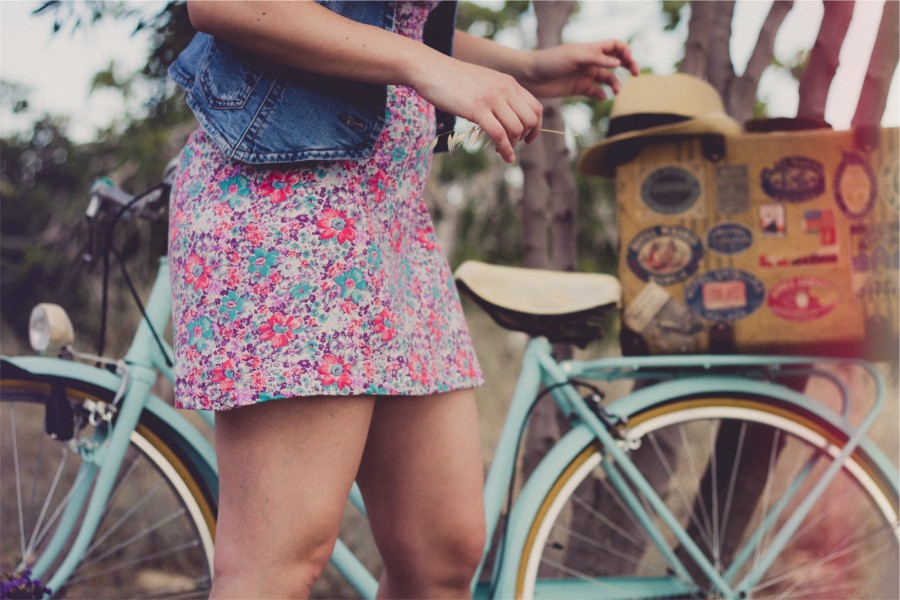 girl, woman, sundress, denim, vest, fashion, hat, fedora, bike, bicycle, people, summer, vintage,