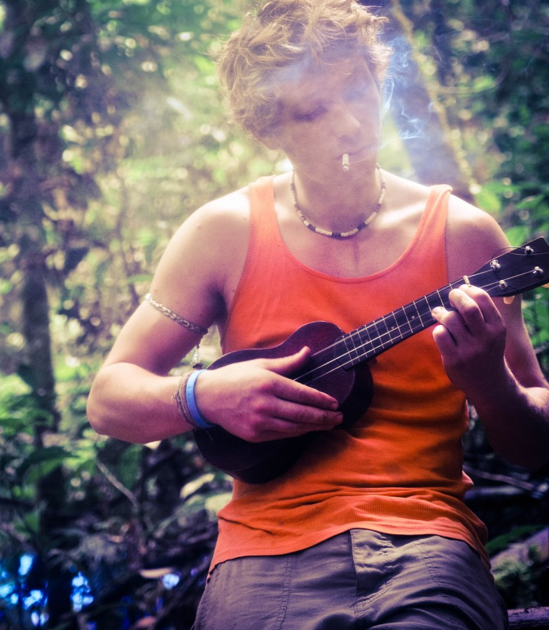 Music, Ukalele, forest, guitar, jungle, man, smke, smoking, woodland,