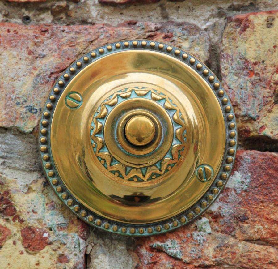 doorbell, door, call, concept, button, close-up, house, copper, metal,