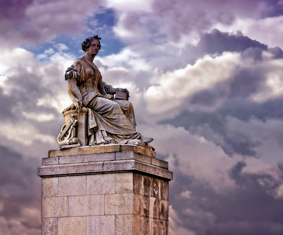 Paris, france, monument, sculpture, abundantia, landmark, art, artistic, sky, clouds, landscape