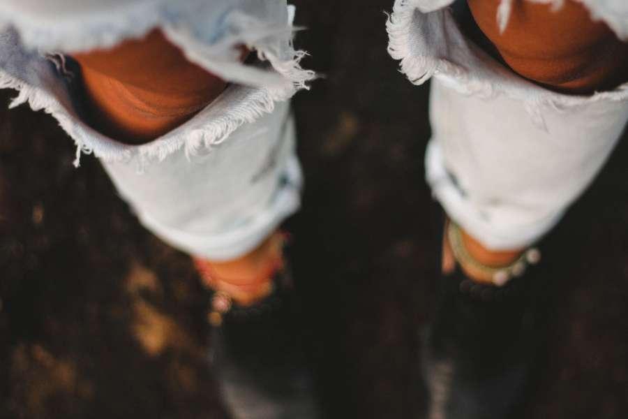 one person, people, woman, knee, jean, broken, urban, fashion, pants, clothing,