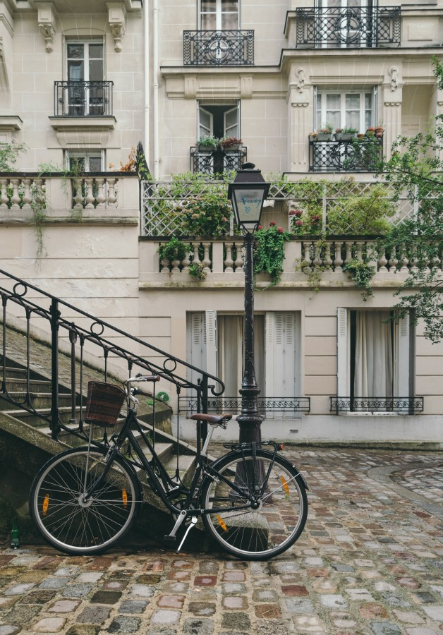 paris, france, travel, tourism, europe, landscape, bicycle, walk, buildings, bushes, lantern, staircase, balcony, European landscape