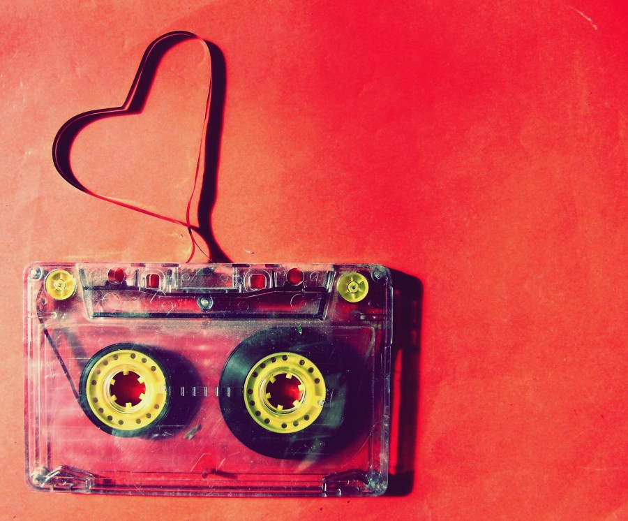 love, cassette, red, ribbon, music, antique, vintage, magnetic, heart, passion, concept,