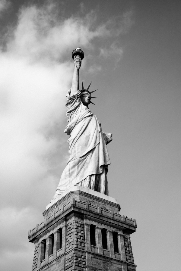 New York, United States, Usa, North America, Monument, Statue of Liberty, Statue of Liberty, white and black,