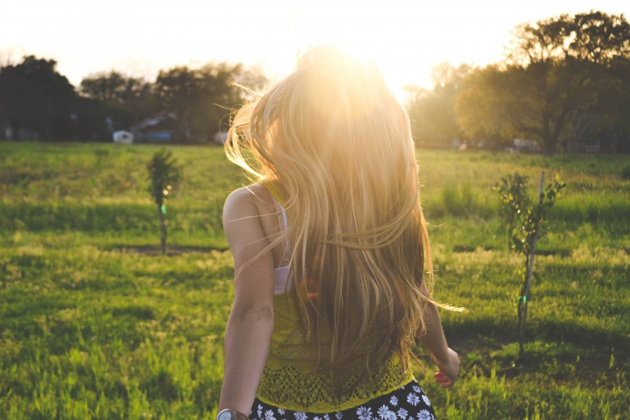 one person, people, woman, blond, blond, nature, sunset, golden, reflection, sun, young, freedom, outdoors,