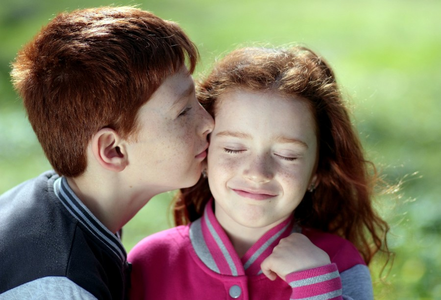 brother, sister, red hair, freckles, kiss, love, couple, smile, portrait, redheaded, family, marriage, kiss, cheek, tender, child, children, eyes closed