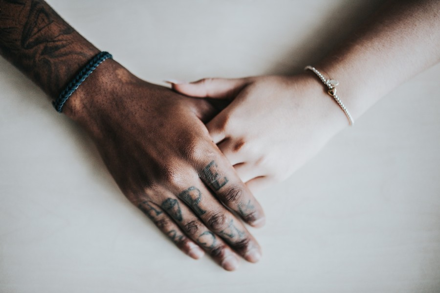 adult, bracelets, couple, fashion, young, hands, holding hands, interior, jewelry, love, man, naked, people, skin, fraternity, wedding, woman, white teas, dark-haired, dark, light, Tattoos
