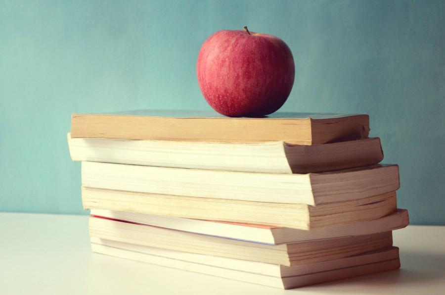 education, apple, fruit, book, books, concept, school, college,