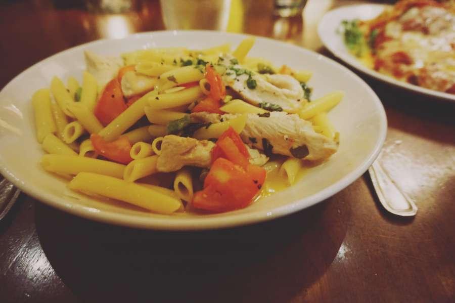 food, pasta, italian, dinner, mediterranean, plate, penne rigate, restaurant