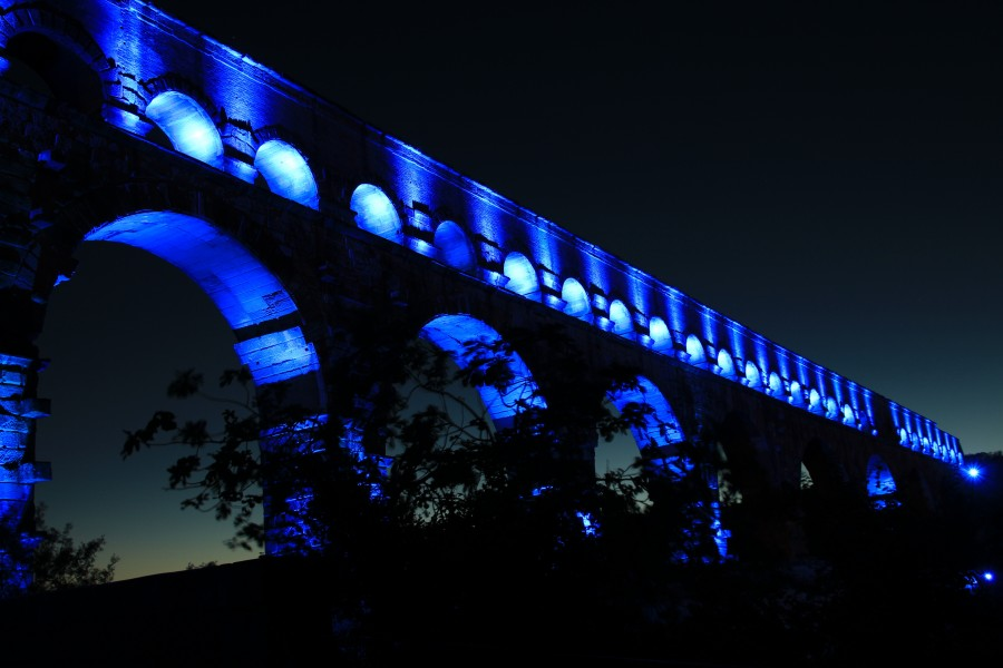 Pont du gard, france, bridge, aqaedukt, blue, night, illuminated, landscape