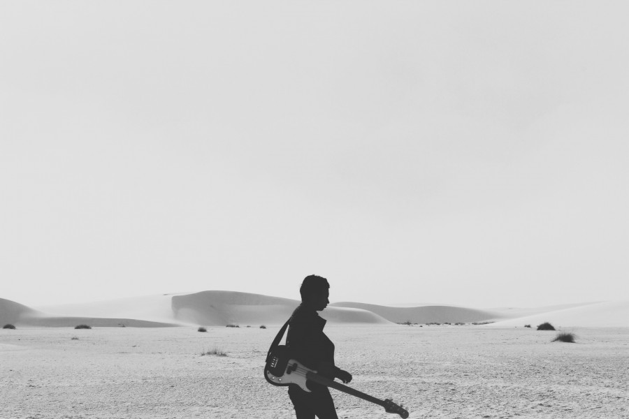 black and white, one person, people, man, guitar, music, electric, dunes, desert, concept,