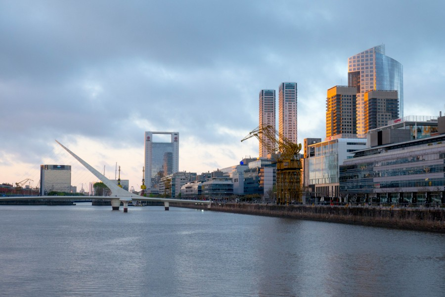 puerto madero, buenos aires, night, sunset, puente de la mujer, bridge, libertad, city, architecture, dock, bay,