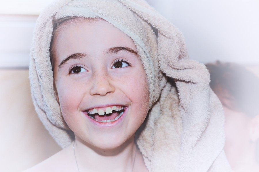 girl, bath towel, face, happy, smile, joy, happiness, 10 years,