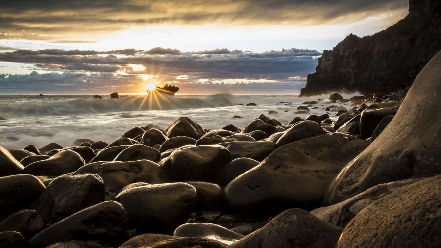 Sunrise, marina, new zealand, landscape, wallpaper, hd, rocks, sea, boat, sun, clouds