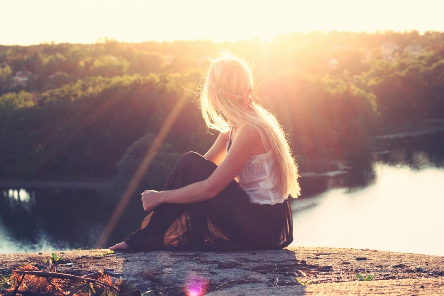 one person, people, woman, blond, blond, sunset, young, teen, landscape, sunset, sunset, gold, beauty, nature, relaxation, serenity, hair, tranquility, travel, travel, vacation, field, lake,
